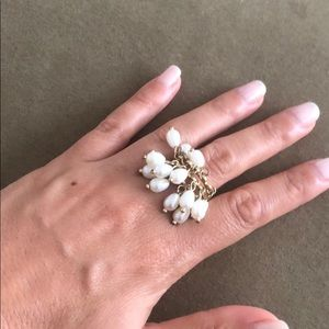 Gold and pearl drop ring